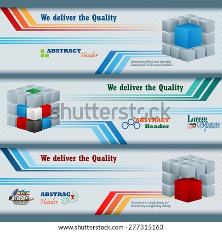 Abstract graphic, design web banner; Header layout template; Set of banners with colorful cubes and space for text.  - stock vector