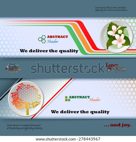Abstract graphic, design web banner; Header layout template; Set of banners with colorful linear design, bouquet of flowers, generic tree and space for text.  - stock vector
