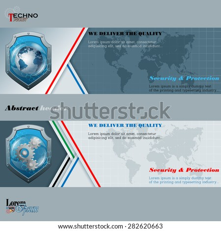 Abstract graphic, design web banner;Header layout template;Set of banners with earth globe, cogwheels in glass button/sphere with security shield behind and world map on squares and space for text.  - stock vector