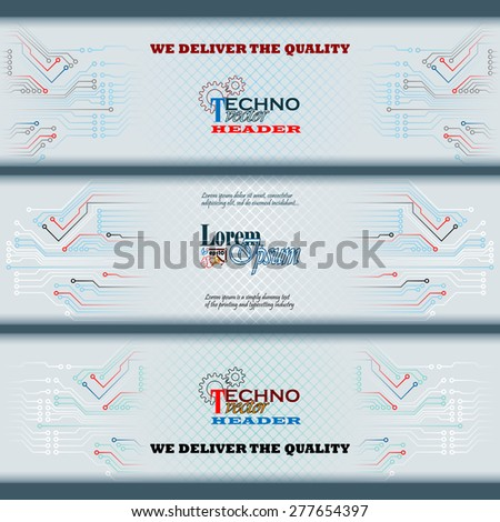 Abstract graphic, design web banner; Header layout template; Set of banners with electronic circuits and space for text. - stock vector
