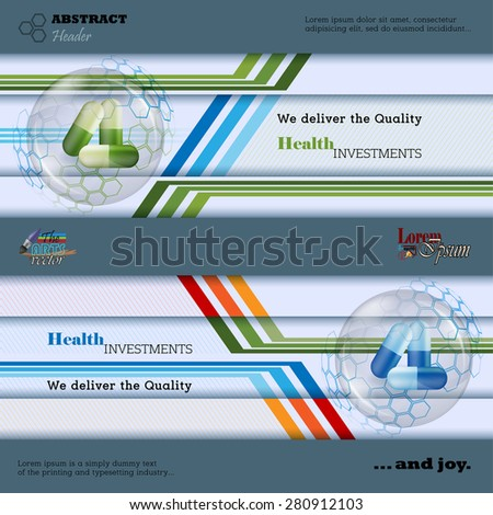 Abstract graphic, design web banner; Header layout template; Set of banners with  green and blue pills inside glass sphere surrounded by hexagons on linear geometric design with space for text.  - stock vector