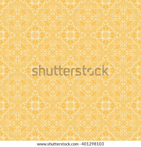 Abstract graphic yellow and white background, seamless lace pattern, repeating floral geometric texture. Tribal ethnic ornament, hand drawn doodle sketch vector illustration.  - stock vector