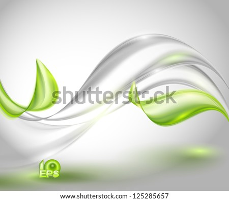 Abstract gray waving background with green leaves - stock vector