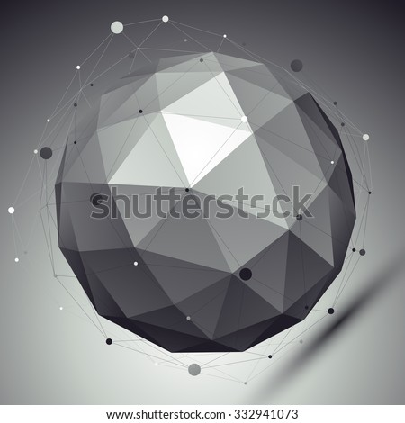 Abstract grayscale 3D sphere with asymmetric grid, vector digital eps8 lattice object placed over dark background. Contrast orb with different undertones. - stock vector