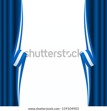 Abstract Greek, Argentinian and Israeli curtain flag  - stock vector