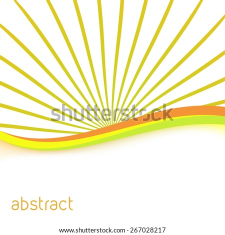 abstract green and orange rays nature tone folder. vector illustration - stock vector