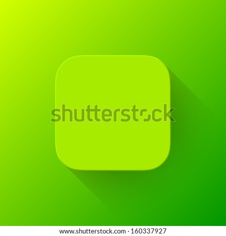 Abstract green app icon, blank button template with flat designed shadow and gradient background for internet sites, web user interfaces (UI) and applications (apps). Vector illustration. - stock vector