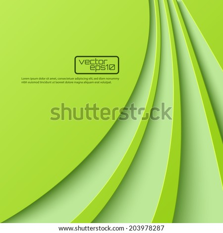 Abstract green background with curved lines. Vector illustration - stock vector