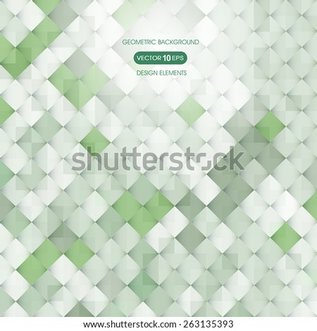 Abstract green background with elements of geometry, square - stock vector