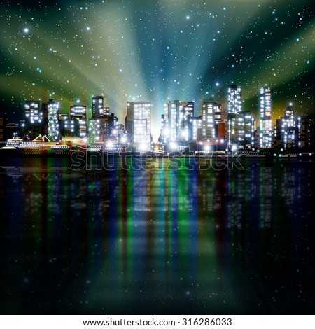 abstract green background with panorama of illuminated city by night - stock vector