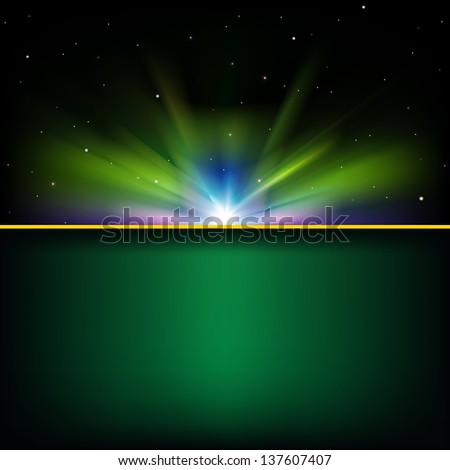 abstract green background with stars and sunrise - stock vector