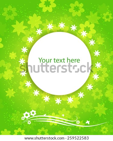 abstract green banner with flowers for your design. Summertime vector - stock vector