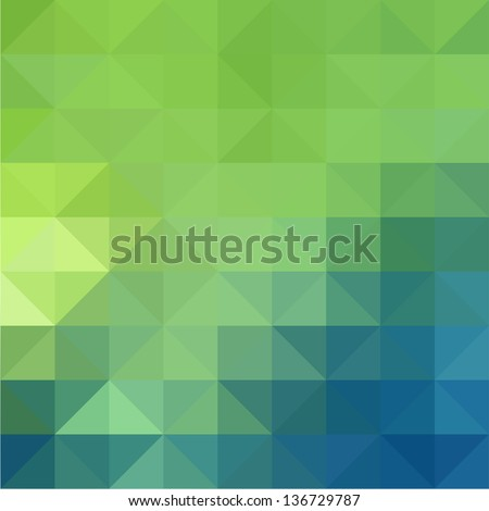 Abstract Green Blue Triangle Background, Vector Illustration - stock vector