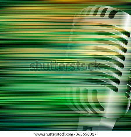 abstract green blur background with retro microphone - stock vector