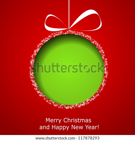 Abstract green Christmas ball cutted from paper on red background. Vector eps10 illustration - stock vector