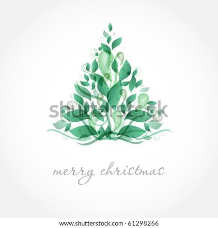 Abstract green christmas tree. - stock vector