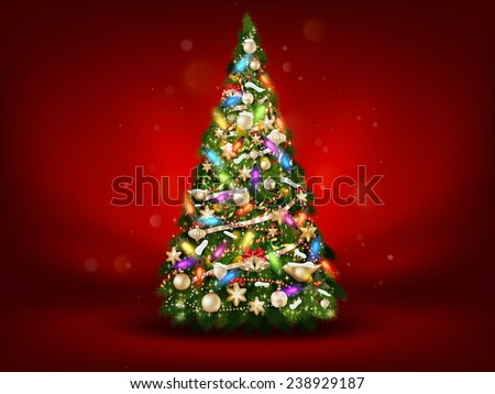 Abstract green christmas tree on red background. EPS 10 vector file included - stock vector