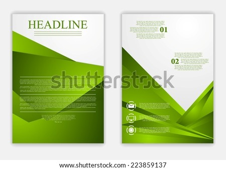 Abstract green corporate tech flyer design. Vector template - stock vector