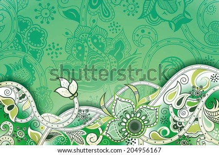 Abstract Green Floral Background - stock vector