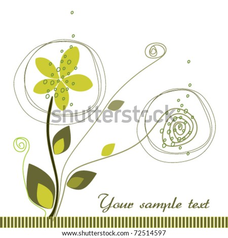 abstract green flower - stock vector