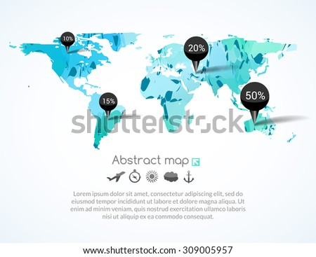 Abstract green fresh cold world map with tags, points and destinations with icons airplane, sun, cloud, anchor, compass - stock vector