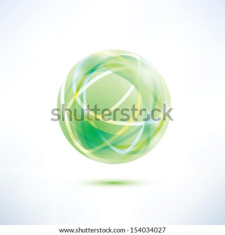 abstract green globe icon - stock vector