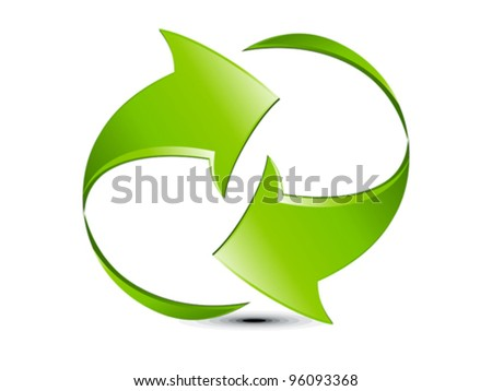 abstract green glossy refresh icon vector illustration - stock vector