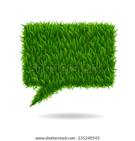 Abstract green grass bubble talk on white background - Vector illustration - stock vector