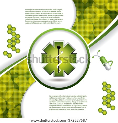 Abstract green grid medical background  - stock vector