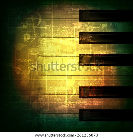 abstract green grunge music background with piano keys - stock vector