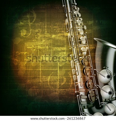 abstract green grunge music background with saxophone - stock vector