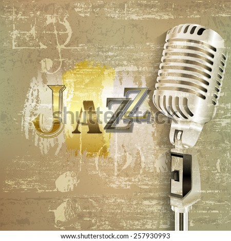 abstract green grunge sound background with retro microphone and word Jazz - stock vector