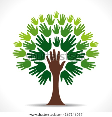abstract green hand tree background vector - stock vector