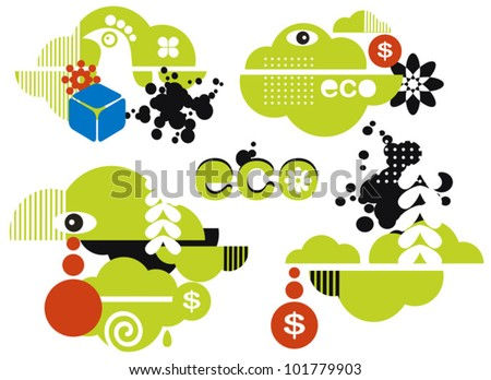 Abstract green icons for your ecological logo. Vector eco illustrations of nature. - stock vector
