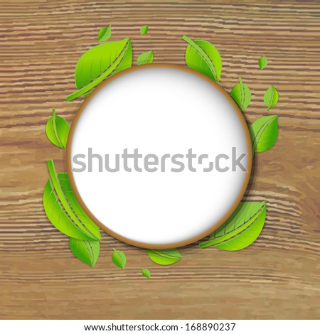 Abstract Green Leaves Banner With Wood Background, With Gradient Mesh, Vector Illustration  - stock vector