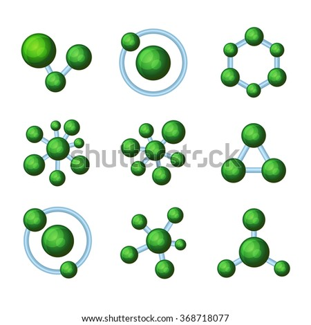 Abstract Green Molecules Icon Set on White Background. Vector - stock vector