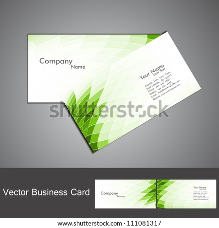 abstract green mosaic colorful wave business card set vector - stock vector