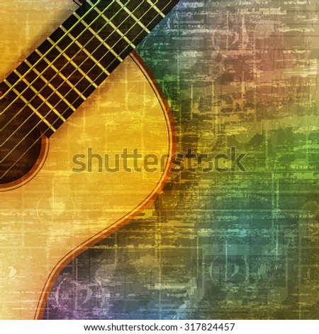 abstract green music grunge background with acoustic guitar vector illustration - stock vector