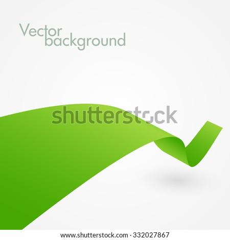 Abstract green ribbon. Vector background - stock vector