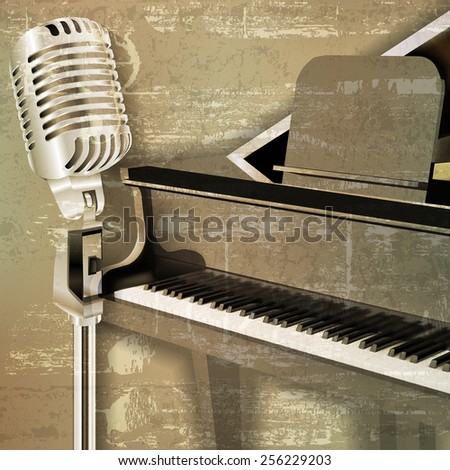 abstract green sound grunge background with grand piano and microphone - stock vector
