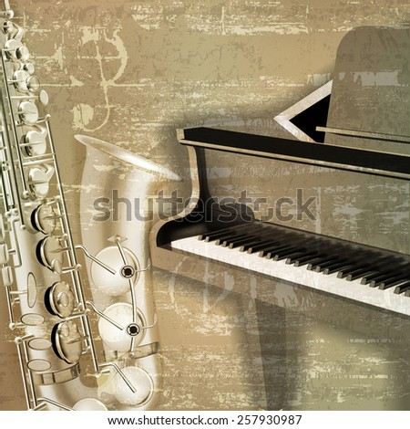 abstract green sound grunge background with grand piano and saxophone - stock vector