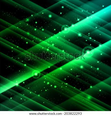 Abstract green space with fast flying stars - stock vector