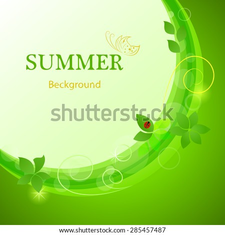 Abstract green summer leaves vector background. - stock vector