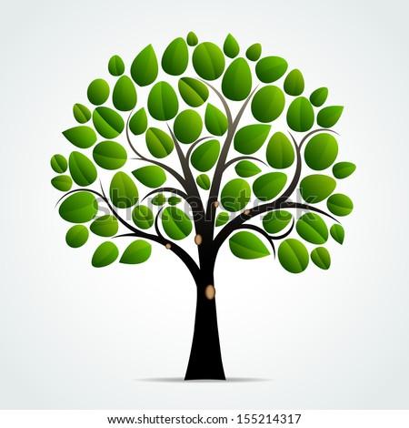 Abstract green tree symbol - Vector illustration - stock vector
