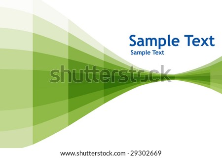 abstract green wave with sample text background - stock vector