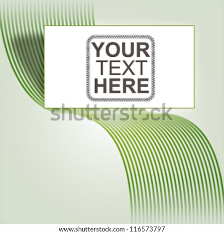 Abstract green waves vector background with billboard - stock vector
