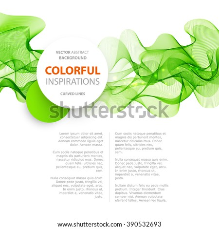 Abstract green wavy lines.  Colorful vector background. Green wave. Green smoke wave. Transparent green wave. green wave design - stock vector