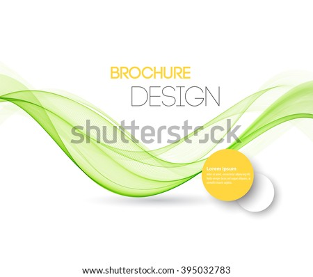 Abstract green wavy lines.  Colorful vector green wave background. For brochure, website design - stock vector