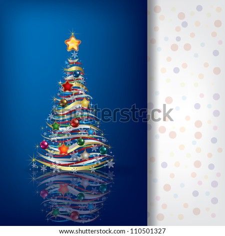 Abstract greeting with Christmas tree on blue background - stock vector