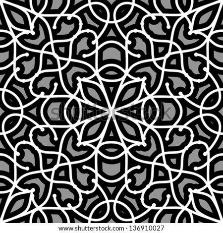 Abstract grey filigree lace ornament, vector seamless pattern - stock vector